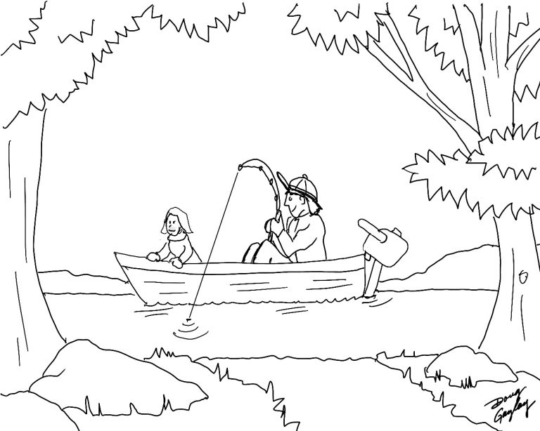 Fishing With Dad- Doug Gazlay's ILoveVittles.com Coloring Page