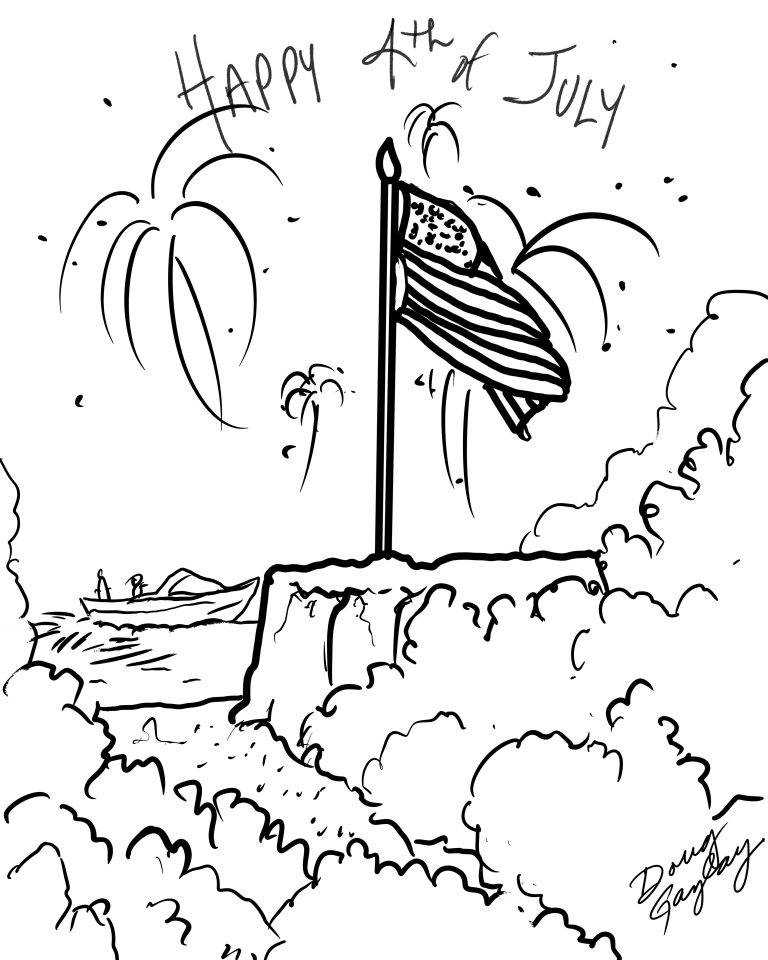 Happy 4th of July- coloring page by Doug Gazlay ILoveVittles.com